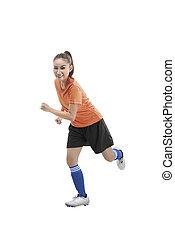 női, futball játékos, futás