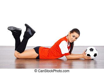 női, futball játékos, maradék on, a, emelet
