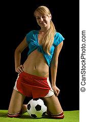 női, futball játékos, noha, labda