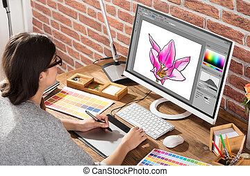 női, graphic rajzoló, használ, graphic tabletta
