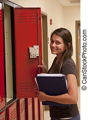 női hallgató, indít, locker.