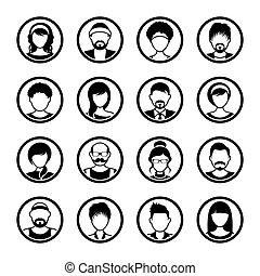 női, ikonok, vektor, avatar, karika, hím