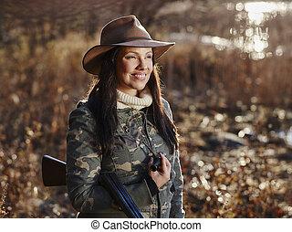 női, kacsa vadász