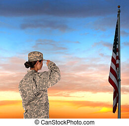 női, katona, tiszteleg, lobogó