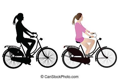 női, kerékpáros