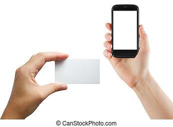 női kezezés, kitart mobile telefon, noha, elszigetelt, ellenző, és, tiszta, ügy, hitelkártya, elszigetelt, white, háttér