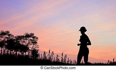 női, kocogó, árnykép, ellen, nyomasztó, színes, naplemente ég