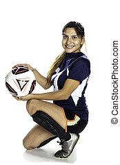 női, latina, futball játékos