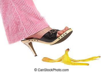 női, leg(foot), és, hámlik, közül, egy, banana., élet, insurance.