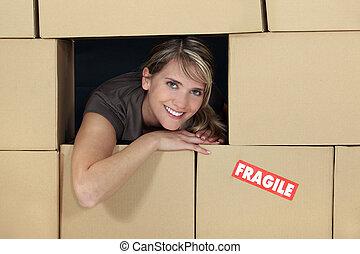 női, logisztika, menedzser, körülvett, által, dobozok