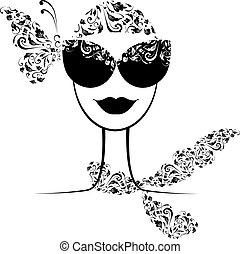 női, mód, árnykép, noha, napszemüveg, -e, tervezés
