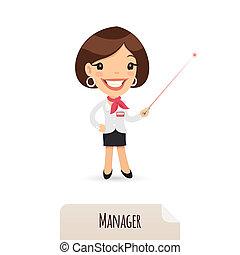női, menedzser, noha, lézer, mutató