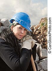 női, munkás, alatt, kék, hardhat