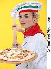 női, pizza, séf, noha, egy, fából való, hámlik