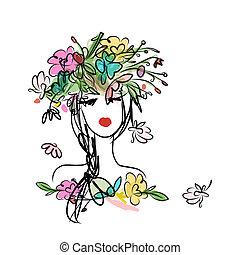 női, portré, noha, virágos, frizura, helyett, -e, tervezés
