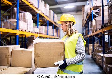 női, raktárépület, munkás, berakodás, boxes.