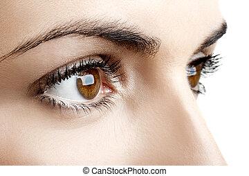 női, szemek