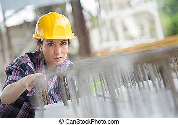 női, szerkesztés munkás, beiktató, kötés, acél, megtáviratoz