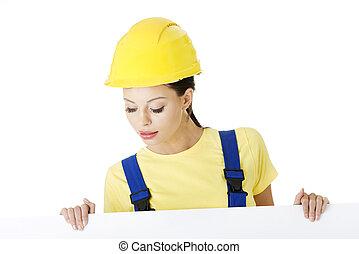 női, szerkesztés munkás, noha, tiszta, bizottság