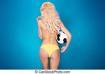 női, szexi, futball, player.