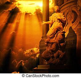 női, szobor, noha, arany, ég