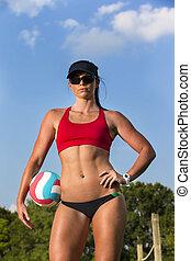 női, tengerpart röplabda, játékos