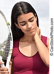női, teniszjátékos, és, fájdalom
