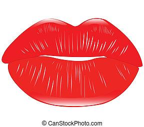 nőies, ajkak, piros