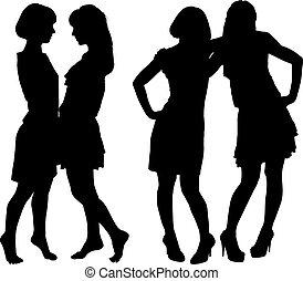 nők, árnykép, két, karcsú, fiatal