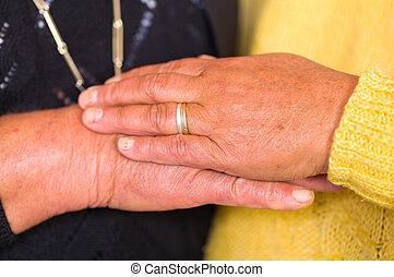 nők, öregedő, kézbesít