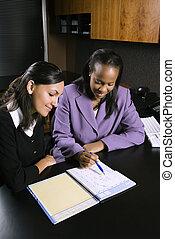 nők, dolgozó, alatt, hivatal.