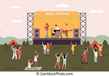 nők, emberek, fesztivál, férfiak, zene, tánc