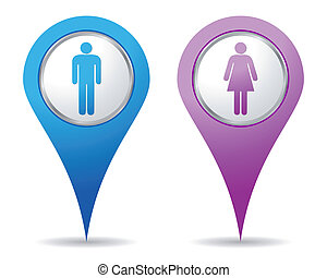 nők, férfiak, elhelyezés, ikonok