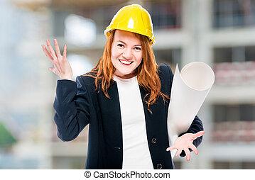 nők, fő, építészmérnök, noha, csekkszámlák, alatt, egy, sárga, sisak, -ban, egy, szerkesztés hely
