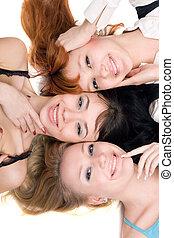 nők, három, vidám
