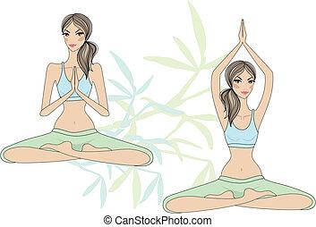 nők, jóga