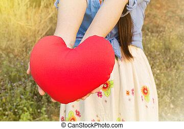 nők, kéz, szelíden, befolyás, piros szív, képben látható,...