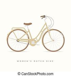 nők, klasszikus, holland, bicikli, vektor, ábra