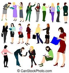 nők, munka, -, no.1., emberek