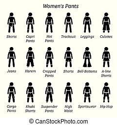nők, nadrág, nadrág, és, shorts.
