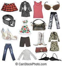 nők, nagy, ruha, gyűjtés