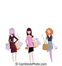 nők, pantalló, bevásárlás