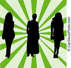 nők, színes, arcmás, irattartó, hasonló, bckground-check