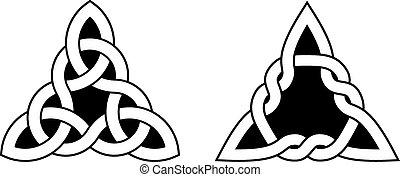 nœuds, celtique, triangle, deux