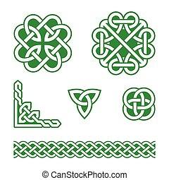 nœuds, celtique, vert, motifs