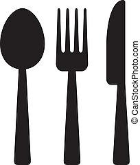 nůž, vidlice, a, lžíce