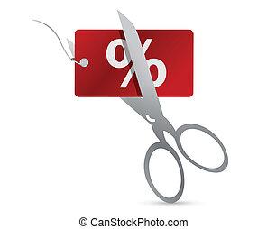 nůžky, cena, řezat, jmenovka, červeň