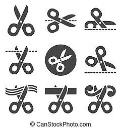 nůžky, ikona, dát, ., vektor