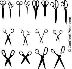 nůžky, vektor, silhouettes