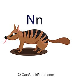 N alphabet vector animal
